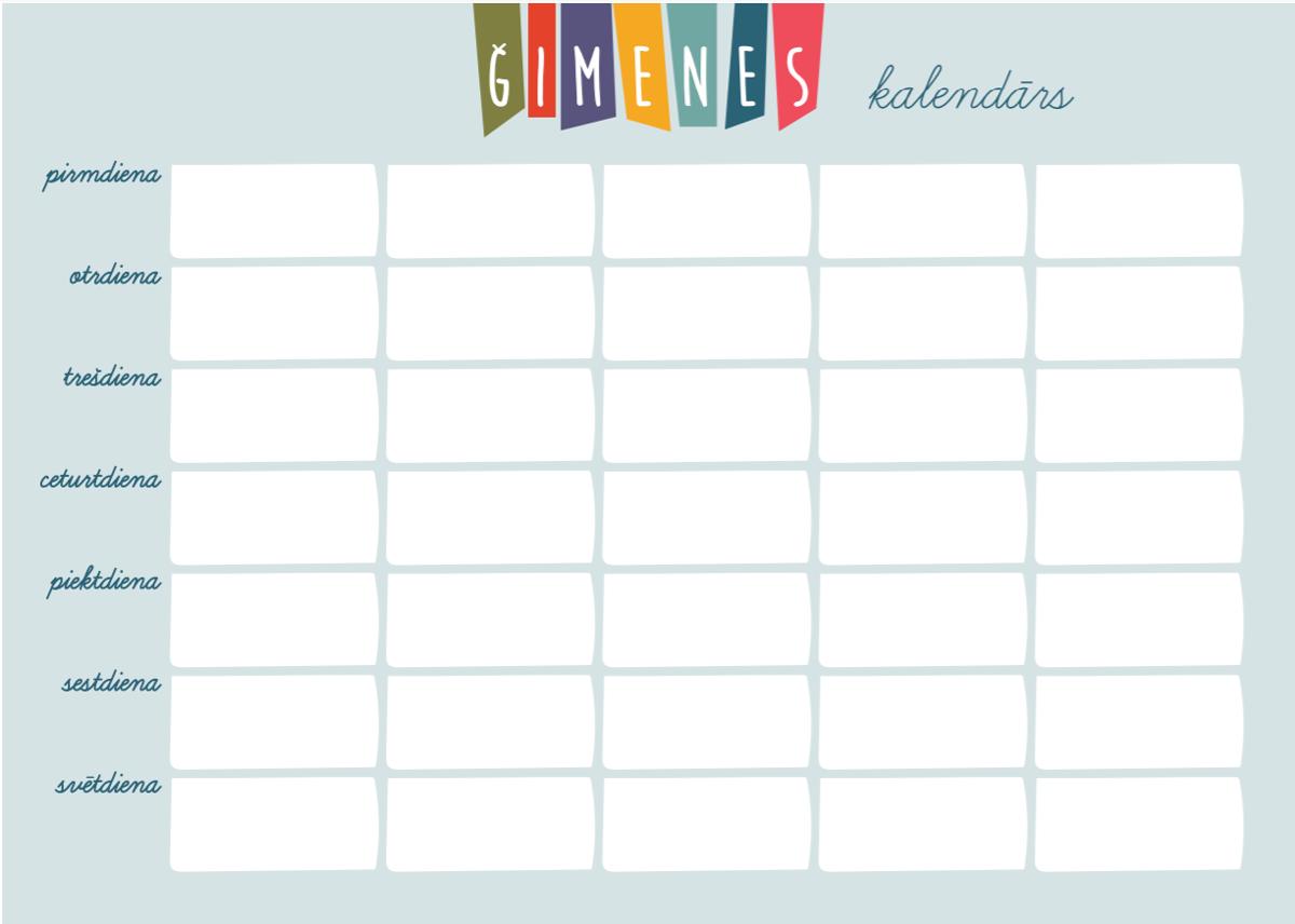 Lielais A3 Magnētiskais Ģimenes Kalendārs (gaiši zils) + marķieris