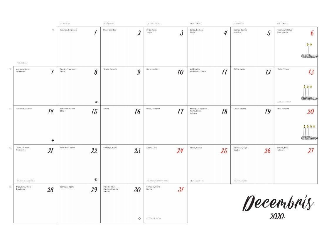 Baltais Ģimenes Kalendārs 2020. gadam