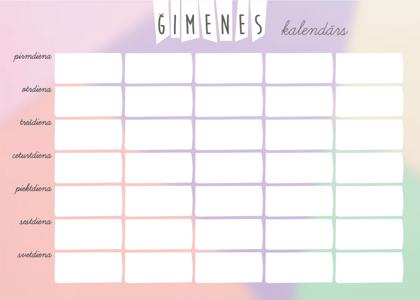 Lielais A3 Magnētiskais Ģimenes Kalendārs (krāsains) + marķieris